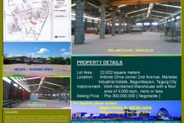 Warehouse and factory for sale in Taguig, Metro Manila