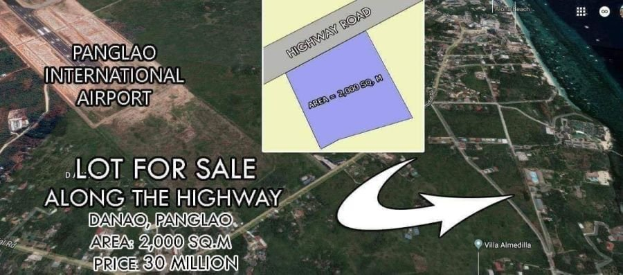 lot for sale in danao, panglao island - along highway