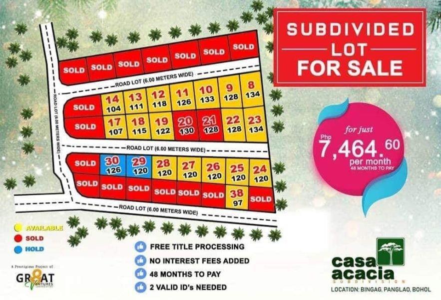 lot for sale casa acacia subdivision in panglao island